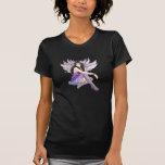 Camiseta negra menuda de las señoras de hadas púrp