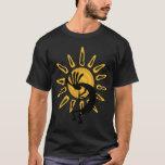 Camiseta negra para hombre de Sun del oro de