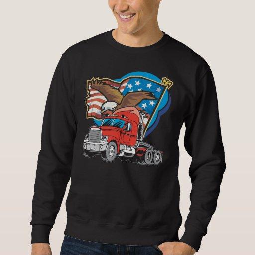 Camiseta negra para hombre del camionero de sudadera