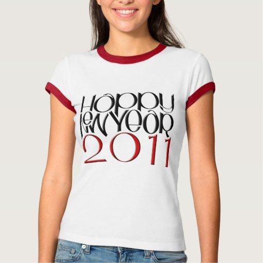 Camiseta negra roja de las señoras de la Feliz Año Remeras