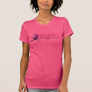Camiseta negra rosada divina de las señoras del polera
