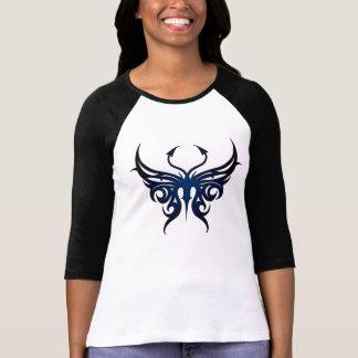 ¡Camiseta negra y azul de la mariposa! Playera