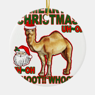 Camiseta NM.png del navidad de Santa del camello Adorno Navideño Redondo De Cerámica