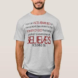 Camiseta no avergonzada del verso de la biblia del