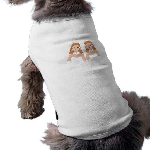 Camiseta nupcial del boda lesbiano playera sin mangas para perro