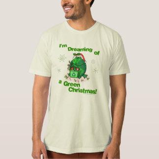 Camiseta orgánica ambiental del navidad verde remeras