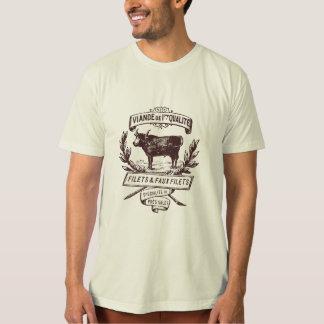 Camiseta orgánica del carnicero francés del vintag playeras