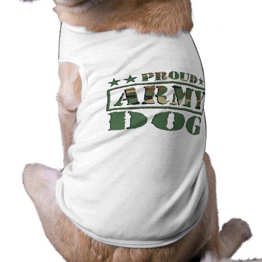 Camiseta orgullosa del perro de ejército playera sin mangas para perro
