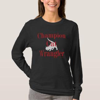 """""""Camiseta oscura de Wrangler del gato del campeón"""" Playera"""