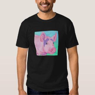 "Camiseta oscura del cerdo rosado - ""este pequeño playeras"