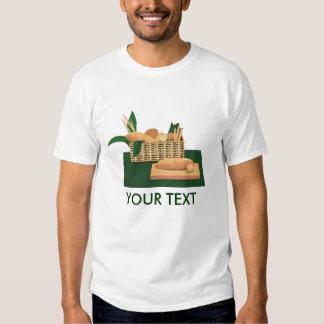 Camiseta para hombre cocida cesta del pan del pan playera