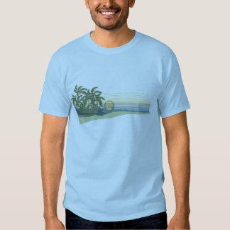 Camiseta para hombre de la puesta del sol grande polera
