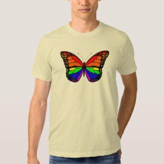 Camiseta para hombre del arco iris de la mariposa remeras
