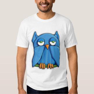 Camiseta para hombre del búho de la aguamarina polera