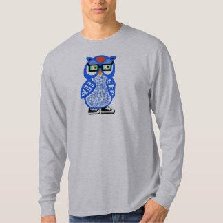 Camiseta para hombre del LS del gris del búho azul
