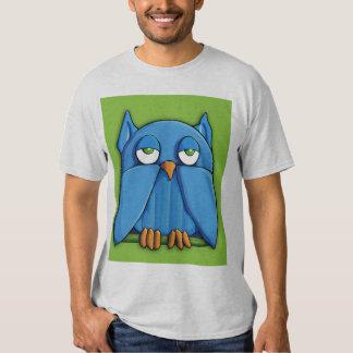 Camiseta para hombre del verde del búho de la remera