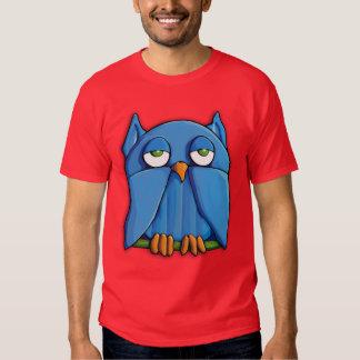 Camiseta para hombre roja del búho de la camisas