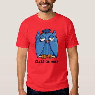 Camiseta para hombre roja del graduado del búho de camisas