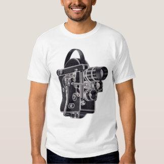Camiseta para mujer azul de la cámara de vídeo del polera