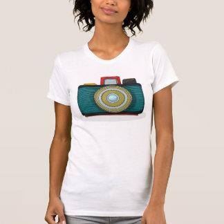 Camiseta para mujer de la cámara retra del estilo