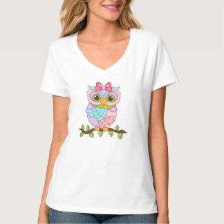Camiseta para mujer de la diversión del búho del remeras