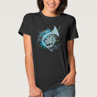 Camiseta para mujer del Grunge del cuerno Playeras