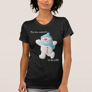 Camiseta para mujer del muñeco de nieve del navida playeras