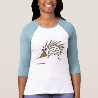 Camiseta para mujer del raglán del erizo abstracto