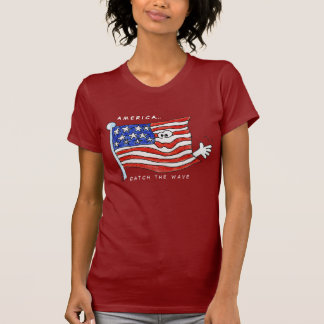 Camiseta patriótica de la bandera americana playera