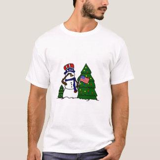 Camiseta patriótica del muñeco de nieve del