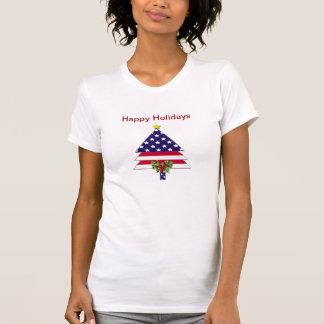 Camiseta patriótica militar del árbol de navidad remeras