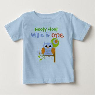 Camiseta personalizada búho del cumpleaños del remera