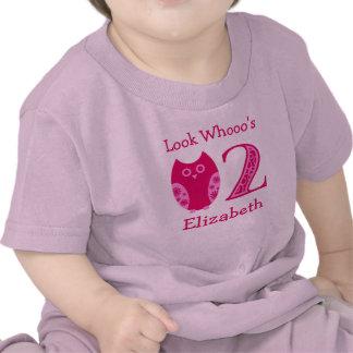 Camiseta personalizada cumpleaños rosado de los bú