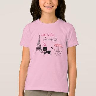 Camiseta personalizada de París del gato Polera