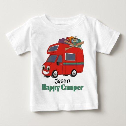 Camiseta personalizada del campista contento poleras