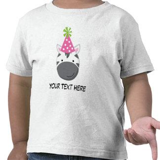 Camiseta personalizada del cumpleaños de la cebra