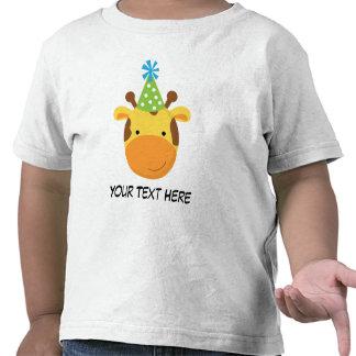 Camiseta personalizada del cumpleaños de la jirafa