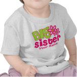 Camiseta personalizada verde del rosa de la herman