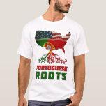 Camiseta portuguesa americana de las raíces