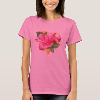 Camiseta preciosa del corazón del hibisco
