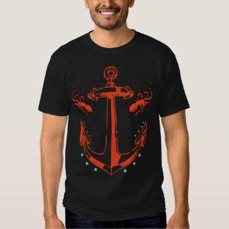 Camiseta punky del ancla y del pulpo del marinero poleras