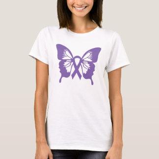 Camiseta púrpura de la mariposa del cáncer de