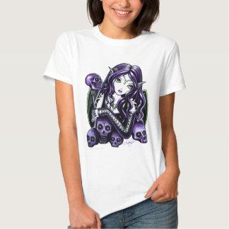 Camiseta púrpura de la muñeca del negro del cráneo playera