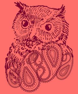 Camiseta púrpura de los pájaros del búho del vinta