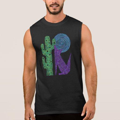 Camiseta púrpura del arte del lobo del coyote