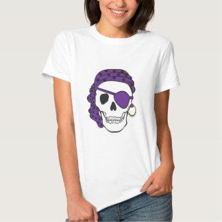 Camiseta púrpura del cráneo del pirata playeras