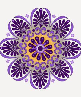 Camiseta púrpura del raglán de la mandala playera
