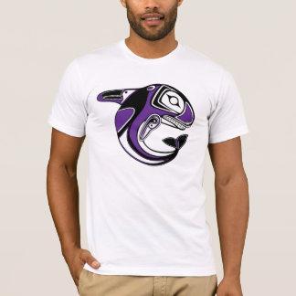 Camiseta púrpura del tótem de la ballena de los