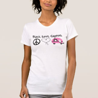 Camiseta que acampa del amor de la paz remera