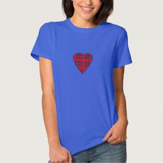 Camiseta real escocesa del corazón del tartán de remeras